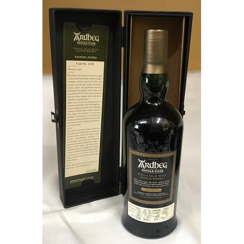 An Ardbeg Single Cask 70cl single Islay malt whisky. Cask number 1375. Date filled 28th March 1975, bottled 8th November 2006. Bottle number 427 of 522. 54.2% volume. Sealed at top with cask type sherry butt. Boxed.