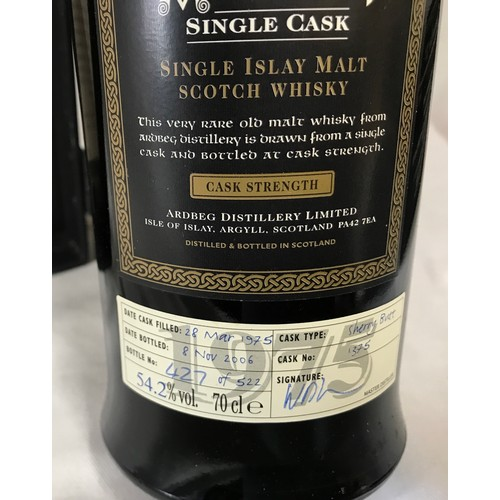 733 - An Ardbeg Single Cask 70cl single Islay malt whisky. Cask number 1375. Date filled 28th March 1975, ...