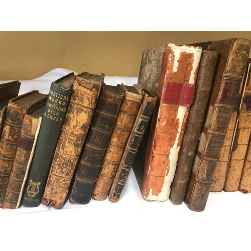 1266 - A collection of 17thC and 18thC leather bound books belonging to John Dyer and family comprising: A ...