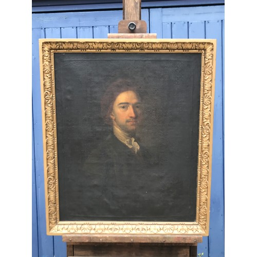 1267 - An oil on canvas, portrait of John Dyer (1699-1757) poet, painter and preacher. Artist unknown.  74 ...