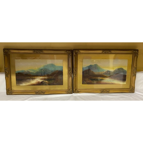 1352 - Two oil paintings on board of mountain scenes in gilt frames. 25 x 45cms.