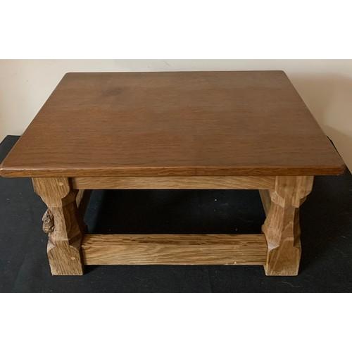 1537 - A medium oak Robert (Mouseman) Thompson footstool with adzed top.  40cms x 28cms x 20cms h.