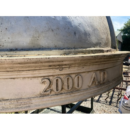 1540 - A Bath stone temple with a conical faux lead dome. Inscribed Millennium 2000 with figure of Athena s...