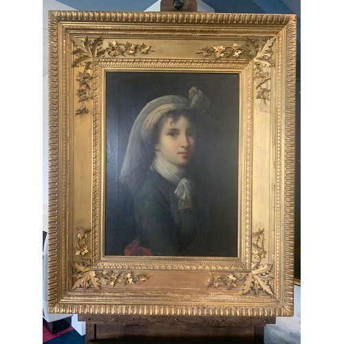 A fine quality portrait of Élisabeth Vigée Le Brun (1755-1842) from 1788 to 1818 Le Brun painted 37 self portraits, 17 were originals and 20 were copies.  80 x 44cms. This pose was used on numerous occasions. First done for the Accademia St. Luca in Rome, it has been with the same East Yorkshire family for many decades.