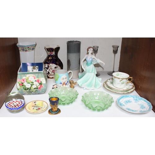 7 - SECTION 7.  A mixed assortment of ceramics and glass to include a Coalport dancing lady, studio pott...