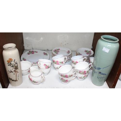 8 - SECTION 8. A Colclough ceramic part tea set, comprising cups, saucers and plates etc. in a floral de...