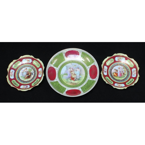 48 - Three assorted Vienna style porcelain cabinet plates, two a pair and a larger example, all with tran...