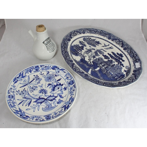52 - A ceramic 'Dr Nelson's Improved Inhaler', together with a Topimpex Willow pattern meat plate and a b...
