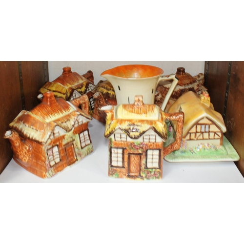 25 - SECTION 25.  Five Price pottery cottage ware teapots, together with a Myott Son & Co jug with geomet...
