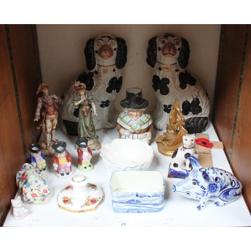 26 - SECTION 26.  A pair of Staffordshire pottery seated Spaniels, together with a Delft seated pig posy ...