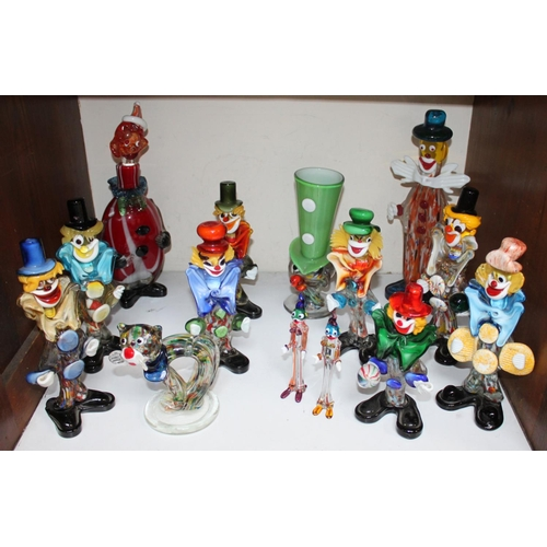 3 - SECTION 3.  Eleven various Murano glass clowns, together with two small clowns and a cat...