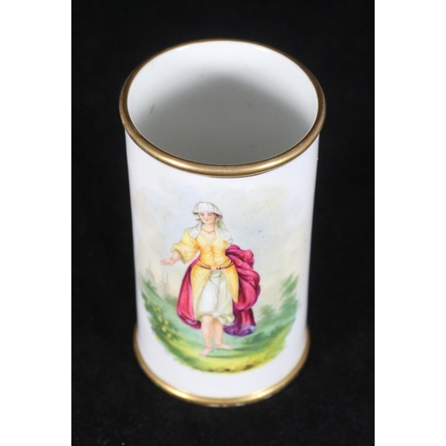 59 - An early 19th century Staffordshire porcelain cylindrical vase, with gilt rim and hand-painted with ...