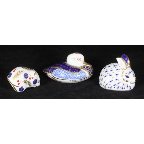 61 - Three various Royal Crown Derby porcelain paperweights, duck, rabbit and mouse (3)...
