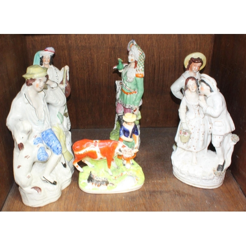 35 - SECTION 35.  Six various Staffordshire pottery figures including a sailor, man playing a Lute, finel...