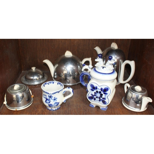 38 - SECTION 38. Two items of Gzhel Russian pottery, together with a four-piece 1920's chromium-plated te...
