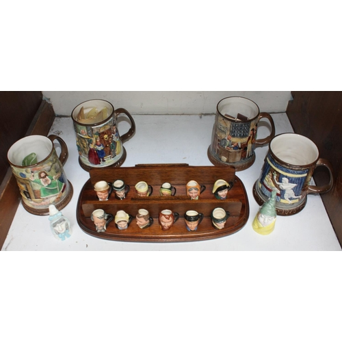 4 - SECTION 4. A set of twelve Royal Doulton miniature Charles Dickens character jugs, two Royal Worcest...