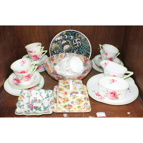 42 - SECTION 42.  Royal Doulton ''June'' tea set. Royal Winton ''Evesham'' Pair of Coalport cups & saucer...