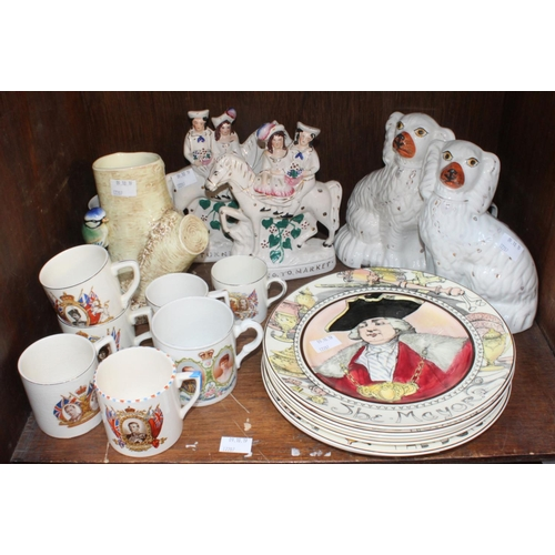 43 - SECTION 43.  A pair of Staffordshire pottery seated Spaniels and a pair of figures, together with si...