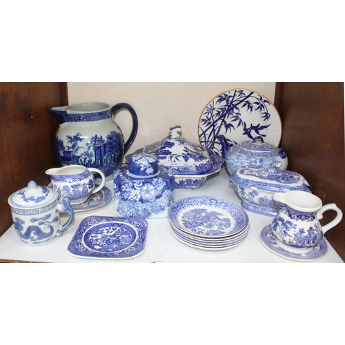 9 - SECTION 9.  A large quantity of blue and white wares including Wood & Sons plates, jugs, tureen and ...