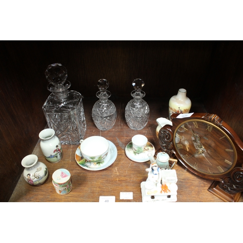 40 - SECTION 40.  Addendum - includes a wooden mantel clock.  A porcelain Fairing match holder-striker 'O...