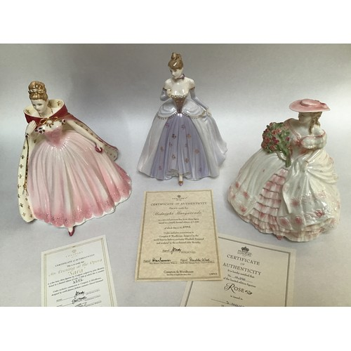 54 - Three assorted Coalport ceramic ladies comprising An Evening at the Opera, 'Sara', limited edition 2...