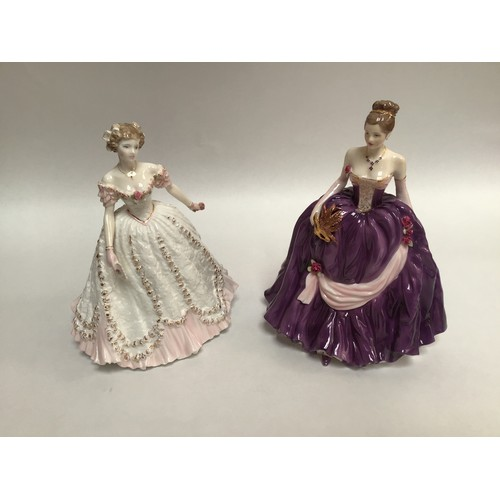 55 - Two assorted Royal Worcester figural ladies comprising 'Winter Palace', limited edition number 319/7...
