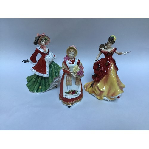 56 - Three assorted Royal Doulton ceramic figural ladies comprising 'Old Country Roses HN3692', 'Winterti...