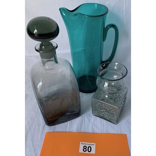 80 - Dartington green glass jug, smokey decanter and FT1 vase (vase a/f)