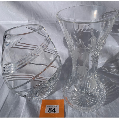 84 - 2 Crystal Vases