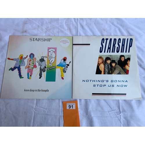 91 - Starship - Knee Deep in the Hoopla LP plus Nothing's Gonna Stop Us Now 12