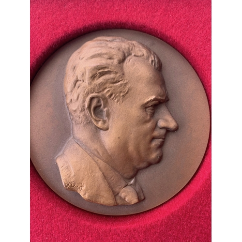 113 - Boxed Bronze Medallion signed VD 1949
