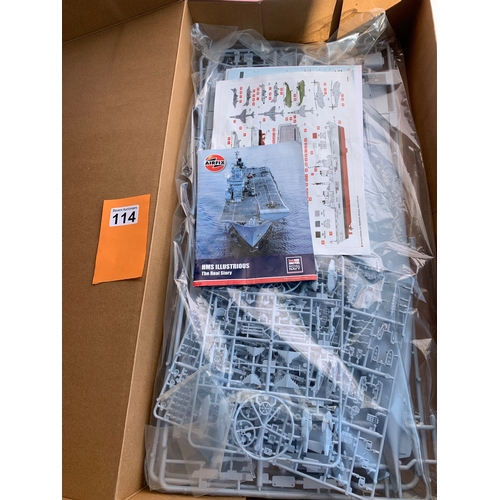 114 - Airfix HMS Illustrious 1:350 scale kit. Box opened but not commenced
