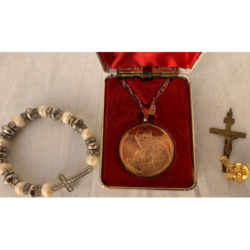 130 - 24ct Gold plated Pope John Paul II cased medallion