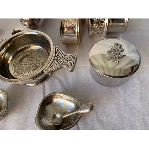 131 - Plated Quaich together with Lansdale 'Royal Hussars' crested pill box, 2 plated napkin rings etc