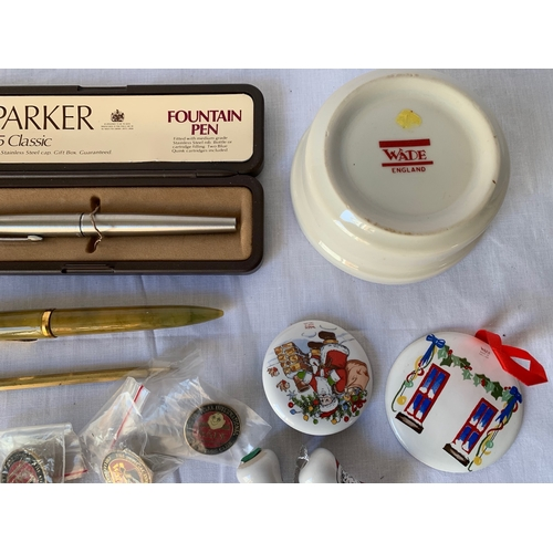 132 - Boxed Parker 45 Classic Fountain Pen with vintage penknives and lighters etc
