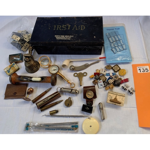 135 - Vintage First Aid tin complete with Gentleman's collectables
