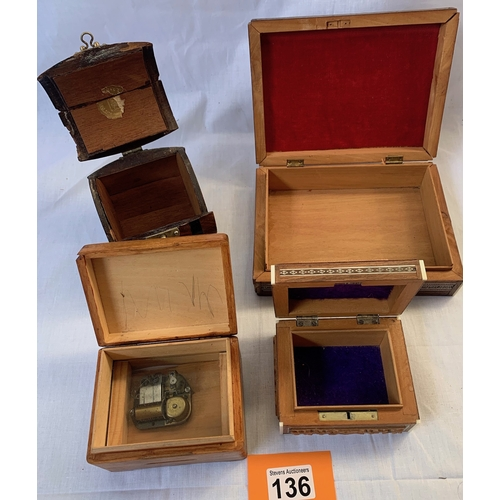136 - Four vintage wooden Jewellery boxes, one is musical