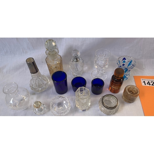 142 - Silver topped vintage bottles and other small glass items