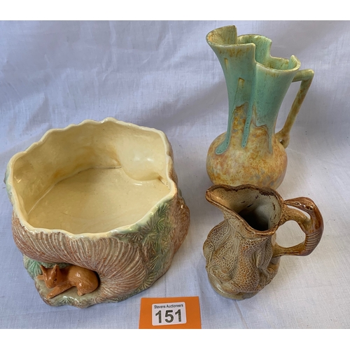 151 - Sylvac Forest Bowl, Beswick Jug and 19th C. Game jug (a/f)