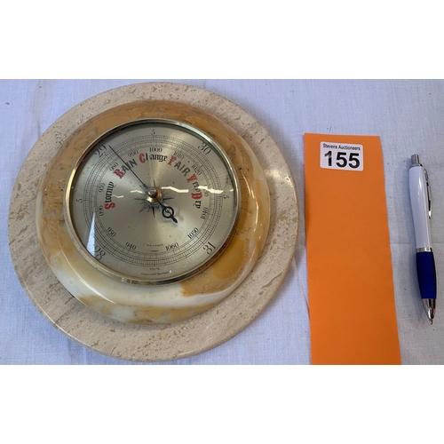 155 - Vintage Shortland Bowen Ltd barometer on round stone base