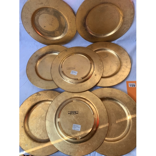 159 - 8 Italian made heavy gold leaf plated under plates