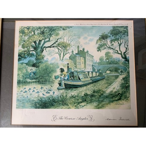 165 - 4 Limited Edition 1970's fishing prints by Norman Thelwell. All numbered and signed.