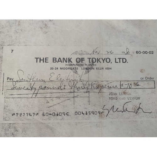 169 - Photocopy facsimilie of a cheque drawn on the Bank of John Lennon and Yoko Ono