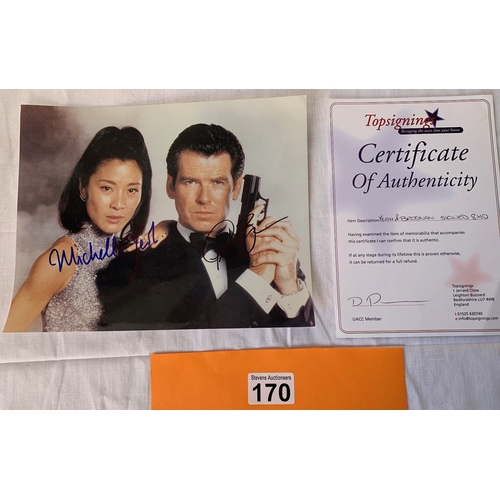 170 - Doubly signed photograph-  James Bond. Signed by Pierce Brosnan & Michelle Yeoh