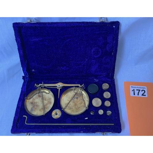 172 - Cased brass weights set