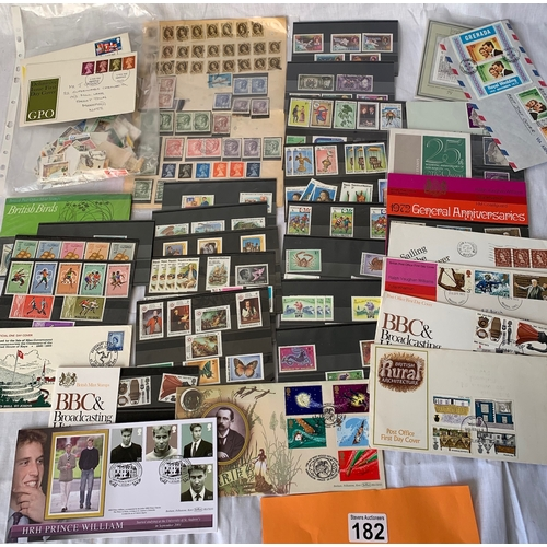 182 - Quantity of mint and used stamps including sets and FDC etc