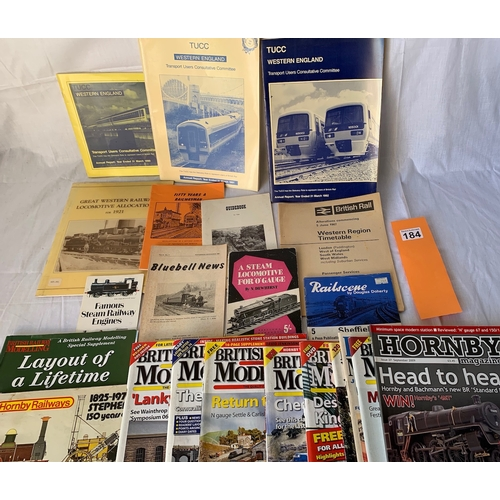 184 - Collection of paper railway ephemera and Railway Modelling magazines and books