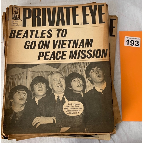193 - Collection of Private Eye Magazines from 1965 x 25