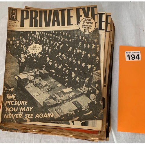 194 - Collection of Private Eye Magazines from 1966 x 23