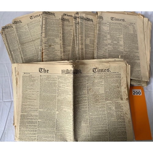 200 - A good collection of The Times original newspapers 1880's/90's